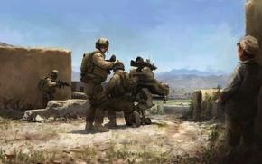 Картинка оружие, война, мальчик, маленький, солдаты, обстрел, селения