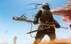 Картинка песок, оружие, ветер, провода, меч, воин, арт, шлем