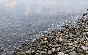 Обои вода, галька, берег, Камни
