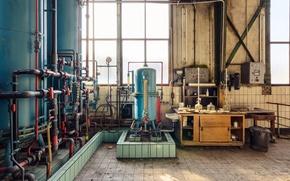 Картинка windows, sunlight, abandoned, machine room, steel tanks