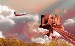 Картинка дорога, облака, город, птица, Небо, самолёт, блики.