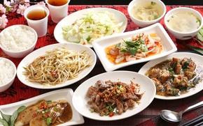 Картинка рыба, суп, рис, салат, морепродукты, японская кухня, блюда, ассорти