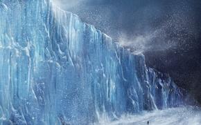 Картинка зима, человек, буря, ледник, europa
