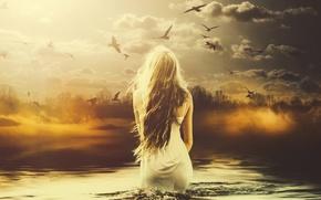Картинка девушка, птицы, арт, в воде, melancolia