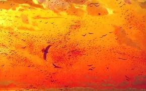 Картинка небо, облака, закат, птицы, цвет, стая, картина, живопись, холст, Маторин, задонщина