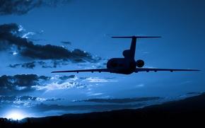 Обои самолет, солнце, вечер