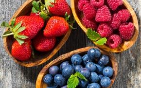 Картинка ягоды, малина, клубника, голубика