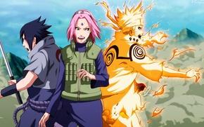 Обои оружие, царапины, naruto, наруто, uzumaki naruto, магия, арт, аниме, девушка, катана, haruno sakura, uchiha sasuke