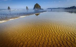 Картинка море, небо, скалы, берег, отлив