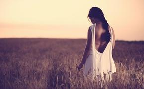 Картинка поле, девушка, одиночество, платье