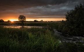 Обои река, поле, закат