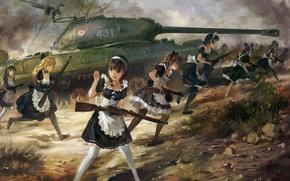 Картинка оружие, upscale, арт, аниме, танк ИС-3, hjl, винтовка ППШ-41, карабин Мосина, девушки, горничная
