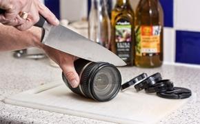 Картинка ситуация, нож, объектив