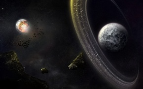 Обои планеты, пояс, астероиды
