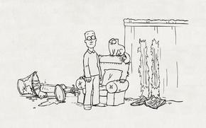 Обои бардак, simon's cat, лампа, шторы, рисунок, котэ, кресло, кот