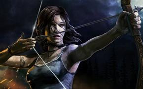 Картинка лук, арт, стрела, Tomb Raider, Лара Крофт, Lara Croft
