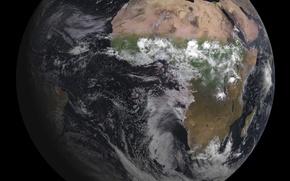 Картинка океаны, Африка, Земля, материки, облака