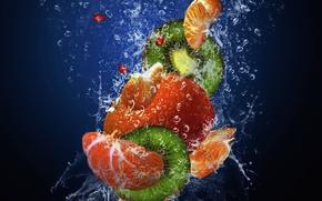 Обои Fruits, мандарин, гранат, киви, mandarin, брызги, kiwi, drops, вода, свежесть, капли, pomegranate, spray, фрукты, water, ...