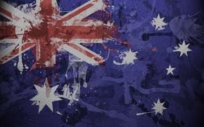 Обои флаг, Австралии, текстура, краска, брызги