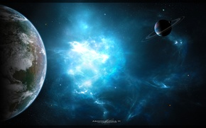 Картинка космос, туманность, планеты, арт, space, nebula, art, planets