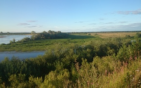 Картинка поле, река, даль