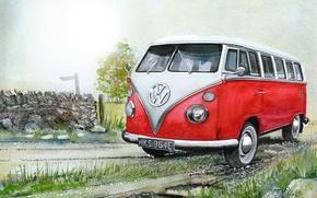 Картинка машина, авто, рисунок, Volkswagen, живопись, микроавтобус, Transporter, Фольксваген, Type 2
