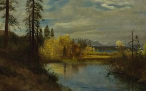 Обои пейзаж, картина, Альберт Бирштадт, Исток на Озере Тахо