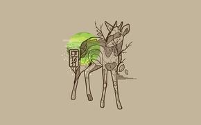Картинка листья, солнце, природа, животное, vector, вектор, олень, nature, leaves, animal, оленёнок, dear, Marius Bauer
