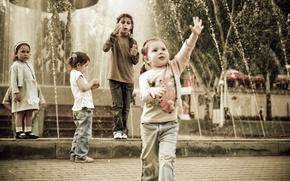 Картинка дети, фонтан, Парк, веселье