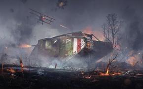 Картинка война, танк, art, tank, DICE, Mark V, Battlefield 1, Landship