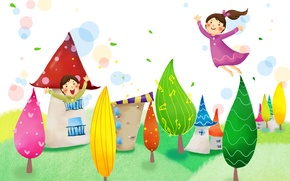 Картинка деревья, радость, фантазия, листва, девочки, дома, полёт, детские обои