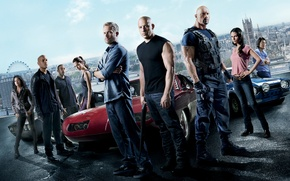 Обои Vin Diesel, Paul Walker, Mia Toretto, Dominic Toretto, Letty, Дуэйн Джонсон, Brian O'Conner, Luke Hobbs, ...