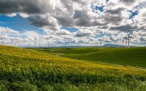 Картинка grass, sky, nature, clouds, fields, wind turbines