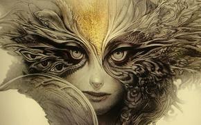 Картинка woman, eyes, feathers, look