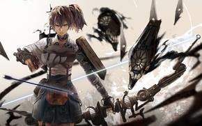 Картинка девушка, оружие, аниме, лук, арт, стрела, броня, kantai collection, kirii, kaga