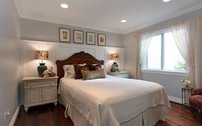 Картинка фото, лампа, кровать, интерьер, подушки, спальня