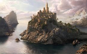 Обои море, фантазия, город