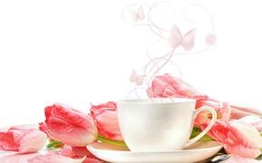 Картинка цветы, чашки, тюльпаны
