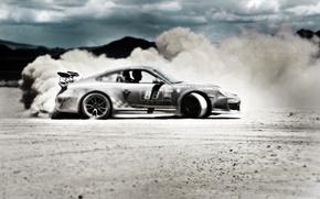 Обои песок, пустыня, Porsche, GT3RS, GoldRush