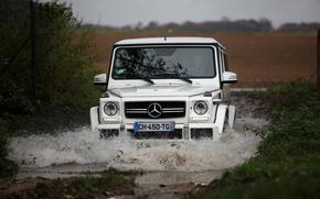 Картинка белый, вода, брызги, Мерседес, Mercedes, white, бездорожье, water, amg, off-road, spray, g63
