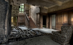 Картинка wood, window, armchair, door, stairs, destroyed floors, wall bricks, ceiling and walls in bad condition, …