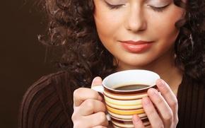 Картинка девушка, волосы, чашка, напиток