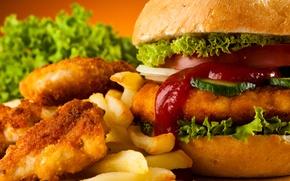 Картинка гамбургер, картофель фри, Fast food, Chicken Nuggets