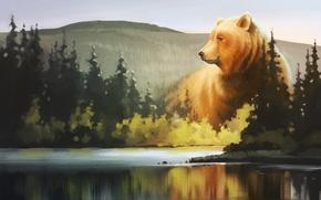 Картинка лес, озеро, медведь