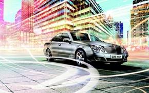 Обои Mercedes-Benz, Город, Линии, Мерседес