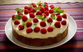 Обои торт, сливки, сладкое, листочки, бисквит, тарелка, листья, красное, малина, зеленое, коричневое, зелень, еда, крем, скатерть