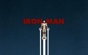 Картинка man, железный, человек, полёт, звёзды, iron, небо