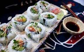 Обои лосось, краб, авокадо, seafood, soy sauce, chopsticks, зелень, рис, морепродукты, суши, Japan, японская кухня, Япония, ...