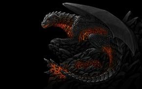 Картинка тьма, черный, дракон, пасть, огнедышащий
