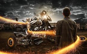Картинка огонь, мотоцикл, Байк, мужчина